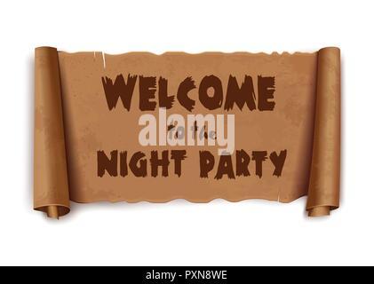 Bienvenue à la nuit de la partie du texte sur le ruban de défilement Banque D'Images