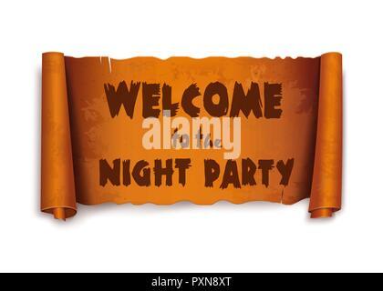 Bienvenue à la nuit de la partie - texte sur ruban de défilement Banque D'Images