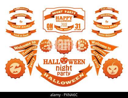 Orange Halloween jeu de rubans et étiquettes de vecteur Banque D'Images