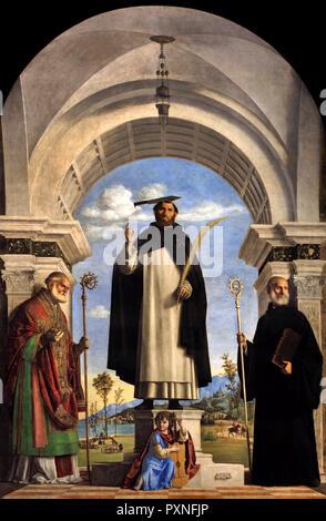 Saint Pierre Martyr avec les saints Nicolas et Benoît 1505-1506 par Cima da Conegliano (Giovanni Battista Cima) 1459-1517 de l'Italie, l'italien. Banque D'Images