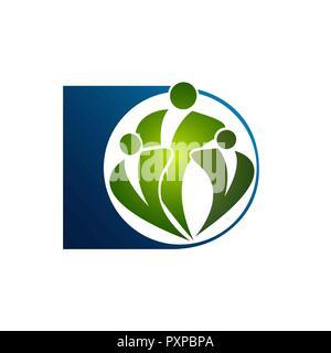 Logo créative et de symboles abstraits family care template Banque D'Images