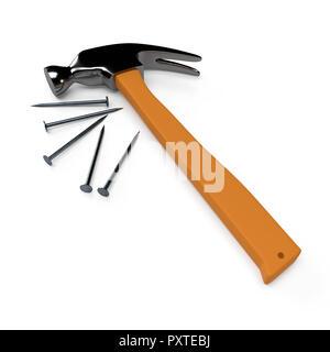 Hammer and nails sur fond blanc, isolé. Le rendu 3D Banque D'Images