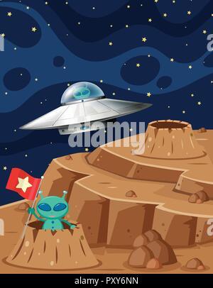 Ovni et extraterrestres dans l'espace scène illustration Banque D'Images