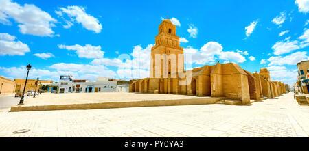 Vue panoramique de la grande mosquée de Kairouan. La Tunisie, l'Afrique du Nord Banque D'Images