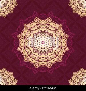 Mandala Vector pattern design avec fond de couleur rouge et or pour l'arrière-plan, papier peint, texture, tissu, textile, etc