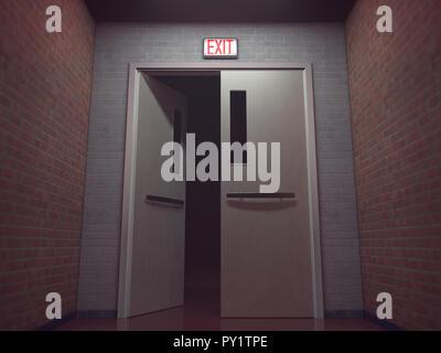 Signal de sortie en rouge allumé au-dessus de la porte ouverte. 3D illustration, conceptual image. Banque D'Images