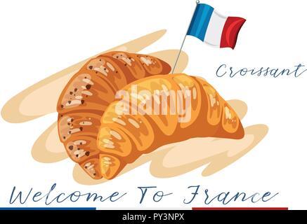 Bienvenue en france illustration croissant Banque D'Images
