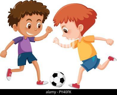 Les garçons jouent au football sur fond blanc illustration Banque D'Images