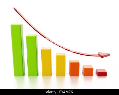 Stat bars et tomber flèche montrant une tendance à la baisse. 3D illustration.