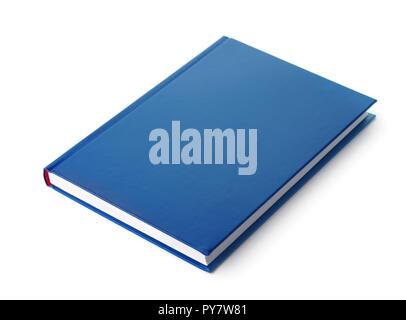 Livre à couverture rigide bleu isolated on white Banque D'Images