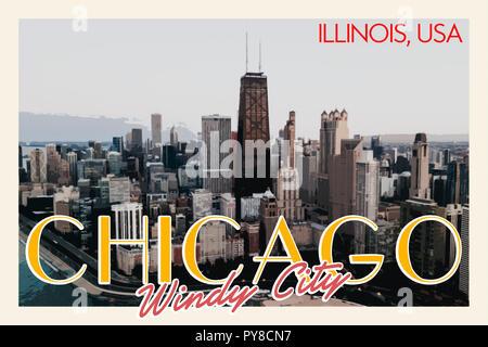 L'Affiche De Voyage Chicago Banque D'Images