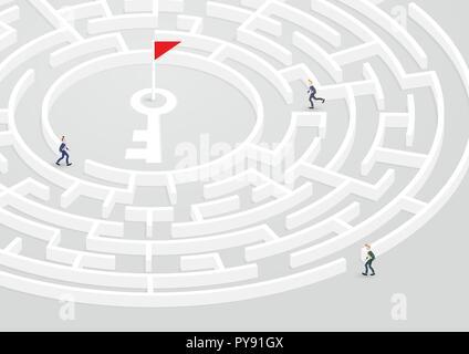 Homme d'affaires de groupe essayez de trouver moyen de succès dans la circulaire labyrinthe, Labyrinthe. Résolution de problèmes d'illustration vectorielle, confusion, solution, défi conc Banque D'Images