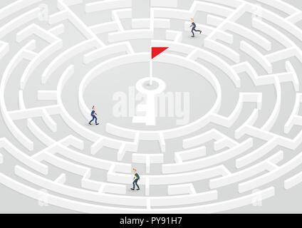 Homme d'affaires de groupe essayez de trouver moyen de succès dans la circulaire labyrinthe, Labyrinthe. Résolution de problèmes d'illustration vectorielle, de confusion, de solution, de défi. Banque D'Images