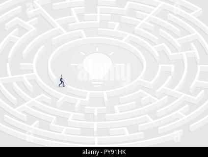 Succès d'affaires à trouver la solution dans la circulaire labyrinthe, Labyrinthe. Créative, idée d'illustration vectorielle, résolution de problèmes, de confusion, de défi. Banque D'Images
