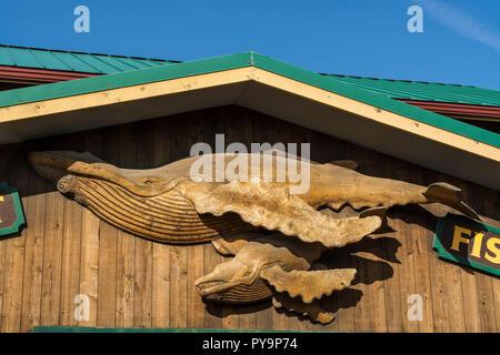 La sculpture de baleine Homer spit, Homer, Kenai Fjords National Park, Alaska, USA. Banque D'Images