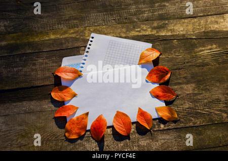 Bannière d'automne rouge avec des feuilles de l'arbre sur l'enveloppe de courrier sur un fond de bois et une feuille blanche pour votre texte Banque D'Images