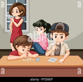 Bad Kids drogue toxicomanes illustration Banque D'Images