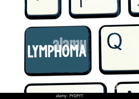 Signe texte montrant le lymphome. Photo conceptuelle Cancer qui commence dans la lutte contre l'infection des cellules du système immunitaire. Banque D'Images