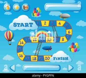 Modèle de jeu avec des ballons dans le fond de ciel illustration Banque D'Images