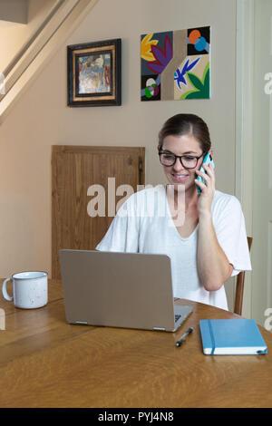 Jeune femme travaillant sur ordinateur à la table de la salle à manger on a pleine vue de la chambre d'art peintures sur le mur derrière. Banque D'Images