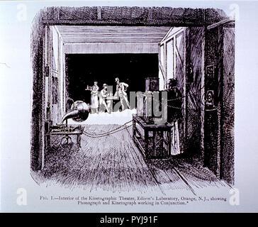 Une cabane délabrée du papier goudronné dans East Orange, New Jersey), administré par Thomas Edison, est la première motion picture studio aux États-Unis. Sur la scène est un garçon debout à côté d'un homme assis à une table tandis qu'un autre homme se tient. Face à l'homme est un appareil photo en bois, officiellement appelé le kinetograph (Edison l'a appelé la niche). Banque D'Images