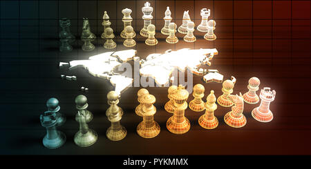 Jeu d'échecs et des tactiques commerciales Concept Art de l'analyse