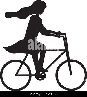 Woman riding bike silhouette aventure Banque D'Images