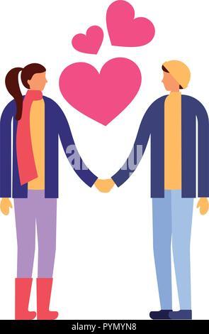 L'amour romantique couple holding hands Banque D'Images