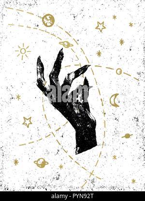 La main de sorcière noire avec cosmos symbolique illustration on white background. Autocollant, tatouage, patch ou poster print design. Banque D'Images