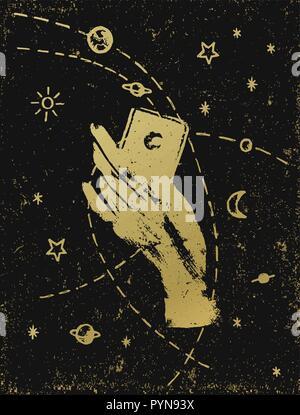 La main de la sorcière avec cosmos symbolique illustration, or sur fond texturé noir. Autocollant, tatouage, patch ou poster print design. Banque D'Images