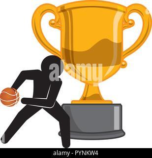 Trophy cup avec le basket-ball player silhouette vector illustration design Banque D'Images