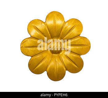 Ancien fer à repasser fleur d'or sur fond blanc, vintage et retro style Banque D'Images