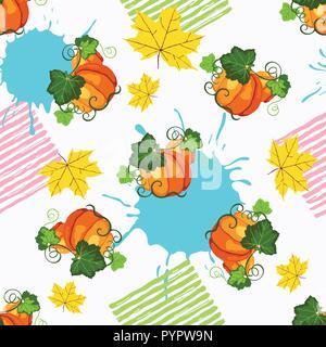 Avec motif transparent orange citrouille mûre, peinture splash et jaune feuilles d'automne sur le fond blanc Banque D'Images