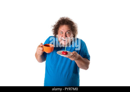 Gros Homme Drôle Avec Mug Et Gâteau Joyeux Anniversaire La Joie Et