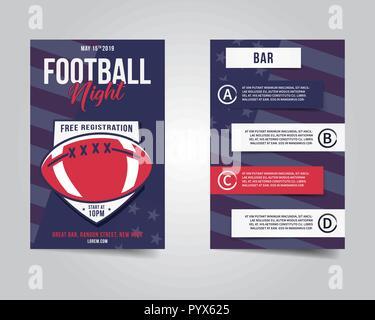 Le football américain flyer. Sports party night mise en page, brochure. Poster professionnel moderne. Match de Rugby l'invitation à l'événement. Modèle Stock vector isolated
