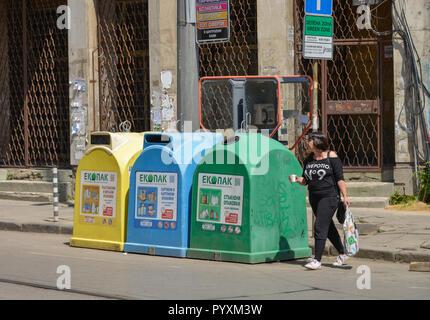 Tonnes de déchets, Sofia, Bulgarie, Muelltonnen, Spanien Banque D'Images