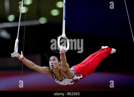 Doha, Qatar. 31 octobre, 2018. Kazuma Kaya du Japon effectue sur les anneaux pendant le concours général hommes finale à la FIG 2018 Championnats du monde de gymnastique artistique à Doha, capitale du Qatar, le 31 octobre 2018. Credit: Nikku/Xinhua/Alamy Live News Banque D'Images
