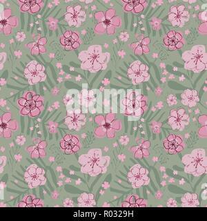 Rose magenta vectorielles sophistiquées et floral motif transparent sur fond vert clair. Estival, festif et amusant. Banque D'Images
