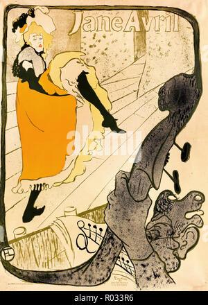 Henri de Toulouse-Lautrec, Jane Avril 1893 Lithographie couleur, Musée des beaux-arts de Boston, USA. Banque D'Images