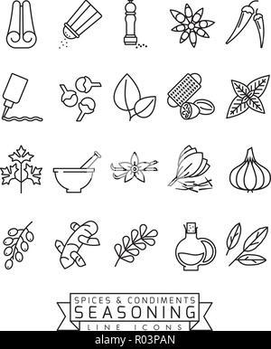 Épices, condiments et assaisonnements ligne vectorielle icon set Banque D'Images