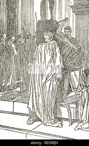 L'assassinat de Jules César, les ides de mars, le 15 mars 44 avant J.-C., Rome, Italie, assassiné par des sénateurs dirigée par Gaius Cassius Longinus, Marcus Junius Brutus, et Decimus Junius Brutus Banque D'Images