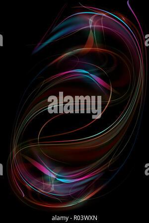 Abstract glowing,fluides et courbes entrelacées de bandes d'eau arc-en-ciel avec des vagues vertes et rouges tourbillonnant en une forme ovale sur fond noir Banque D'Images