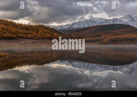 Vue d'automne avec des montagnes couvertes de neige et golden forest, nuages, brouillard et leurs reflets dans le lac avant l'aube Banque D'Images