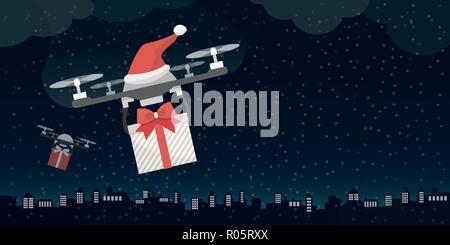 Les drones du Père Noël cadeaux de la veille de Noël dans la ville Banque D'Images