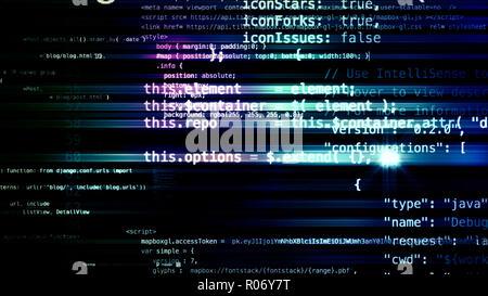 Le rendu 3D abstract les blocs de code qui sont dans l'espace virtuel. L'intérieur de l'appareil photo le code informatique Banque D'Images