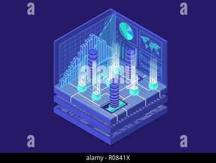 Cryptocurrency vector illustration isométrique. Infographie 3D abstrait pour la technologie financière Banque D'Images