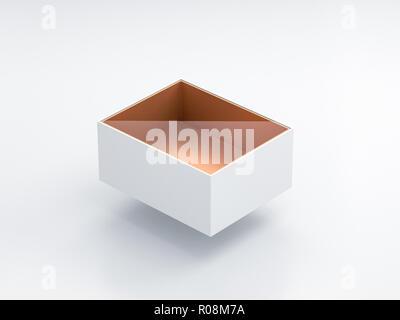 Maquette boîte blanche avec fenêtre en plastique transparent et feuille d'or carton à l'intérieur dans le Light Studio, blister, rendu 3D