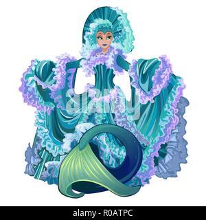 Avec Mermaid robe de luxe isolé sur fond blanc. Beaux personnages de conte sous l'eau avec le corps humain et queue de poisson. Cartoon Vector illustration close-up. Banque D'Images