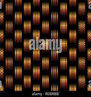 Arrière-plan transparent orange avec des traces de pneus différentes silhouettes Banque D'Images