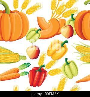 Modèle intégré de légumes frais. Le poivre, le potiron, les carottes et le maïs. L'alimentation saine style plat. Vector illustration sur fond blanc. Banque D'Images